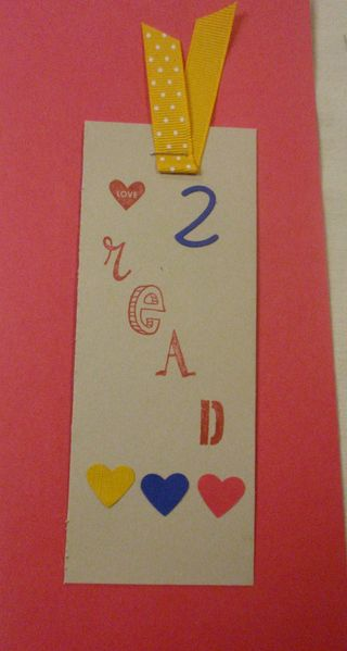 Kids valentine bookmark